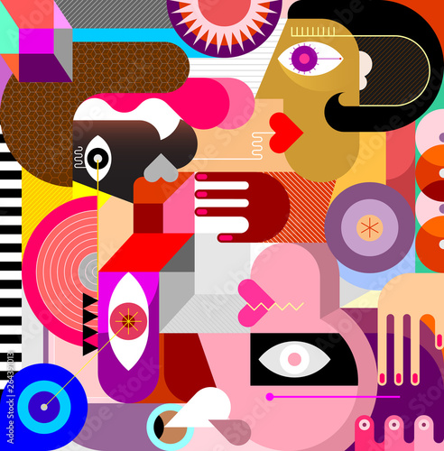 Three People Abstract Art Vector Portrait