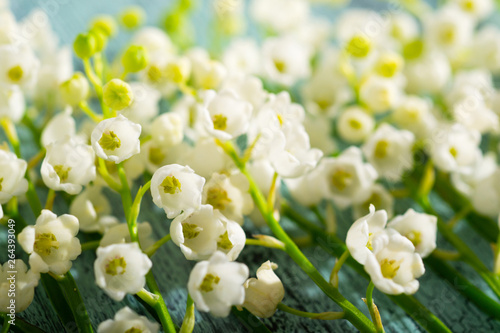 Poster de jardin Muguet de mai Lily of the valley flowers on cracked blue wood table background