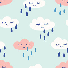 Rainy Clouds With Eyes And Smile Cute Seamless Pattern. Print For Kids. Vector Hand Drawn Illustration