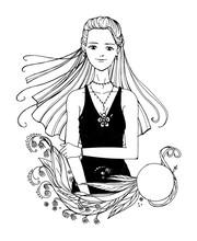 Black White Longhair Girl With Frame Manga Anime Style Isolated Sketch Line Art