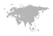 Vector Illustration With Simplified Map Of Eurasia Continent. States Borders. Grey Silhouettes.