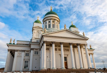 Helsinki Cathedral At Sunny Day And Blue Sky In Background. Finnish Lutheran Church Building In Center Of City
