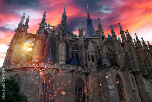 Poster Fantasy Landscape Phantasy church, temple with dramatic sky and glittering effect.
