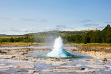 The Process Of The Beginning Of Geyser Eruptions In The Haukadalur Valley, Geysir National Park In Iceland. Geothermal Source And Alternative Energy. Strokkur Geyser Eruption. Hot Water Bubble.