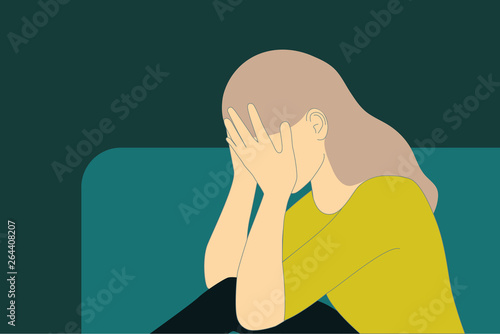 Sadness, pain, depression concept with woman crying vector illustration Fototapeta