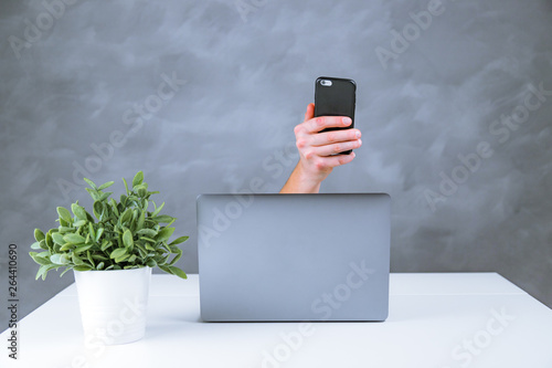 Latest generation computer on a table with accessories Canvas Print