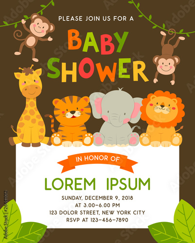 Fototapeta Cute Jungle Animals Cartoon Illustration For Baby Shower Invitation Card Template