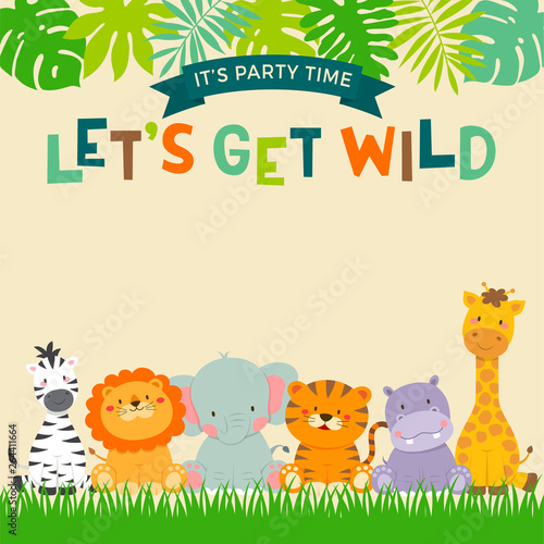 Cute Jungle Animals Cartoon With Leaf Border For Party