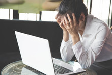 Frustrated Sad Woman Feeling Tired Worried About Problem  With  Business, Business Woman Stressed From Working On A Laptop, The Concept Of Stress And Failure In Work.
