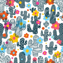 Cute Cactus. Vector Seamless P...