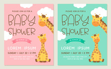 Cute Mother And Baby Giraffes Cartoon Design For Baby Shower Invitation Card Template