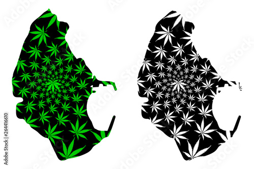 Melilla - map is designed cannabis leaf green and black, Melilla ( Spanish autonomous city) map made of marijuana (marihuana,THC) foliage,
