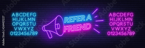 Fotografía  Refer a friend neon sign on brick wall background
