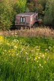 Houseboat hidden between bushes in springtime. - 264426213