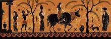 Ancient Myth Sceen,Black Figure Pottery.Treft Of Europe.Zeus.