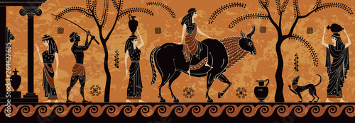 Ancient myth sceen,Black figure pottery.Treft of Europe.Zeus. Wallpaper Mural