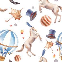 Watercolor Circus Seamless Pattern.