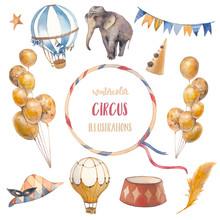 Watercolor Circus Set. Hand Dr...