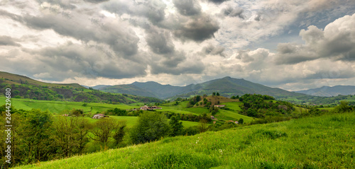 landscape of Pays Basque, Green hills. French countryside in the Pyrenees mountains