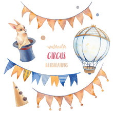 Watercolor Circus Set. Hand Drawn Illustrations: White Rabbit, Flags Garland Collection, Hot Air Balloon And Party Hat. Isolated Retro Style Objects