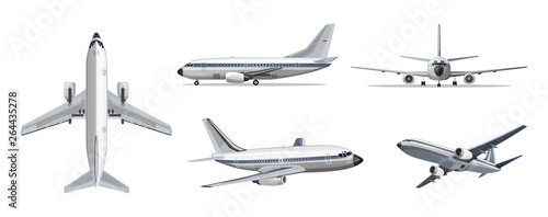 Airlines transportation concept. Vector airplane with yellow and blue stripes on white background. Airplane in top, side, front and bottom view. Vector aircraft illustration.