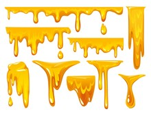 Dripping Honey On White Backgr...