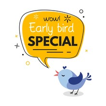 Early Bird Special Trendy Design With Bird And Geometric Template. Vector Early Bird Promotion Illustration