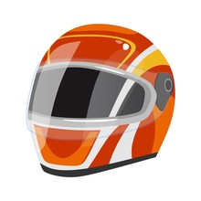 Racing Helmet Icon Isolated On...