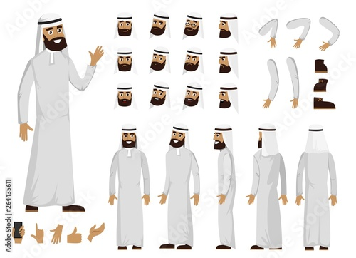 Photo Arab man character constructor set in flat style