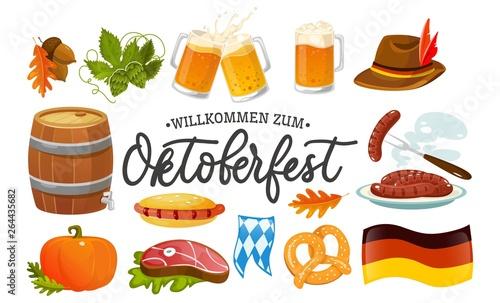 Tableau sur Toile Oktoberfest food and symbols collection