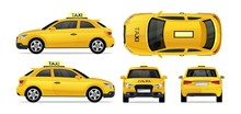 Taxi Yellow Car With Side, Front, Back And Top. City Transport Taxi Icon Set For Mobile, Web, Promotions. Taxi Cab Isolated On White Background.Hi-detailed Service Vehicle Vector Mockup Template
