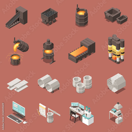 Cuadros en Lienzo Metal Industry Isometric Icons Set