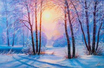 Panel Szklany Brzoza Winter forest with river