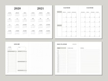 Planner Design Template For 2020 2021 Year. Weekly And Monthly Planner Design With Checklist, To Do List And Dotted Paper. Printable Vector Business Planner Concept.