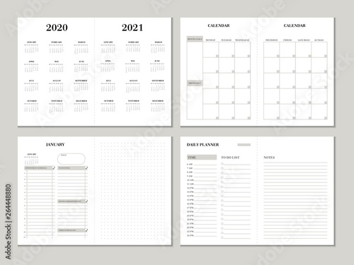 Obraz Planner design template for 2020 2021 year. Weekly and monthly planner design with checklist, to do list and dotted paper. Printable vector business planner concept. - fototapety do salonu