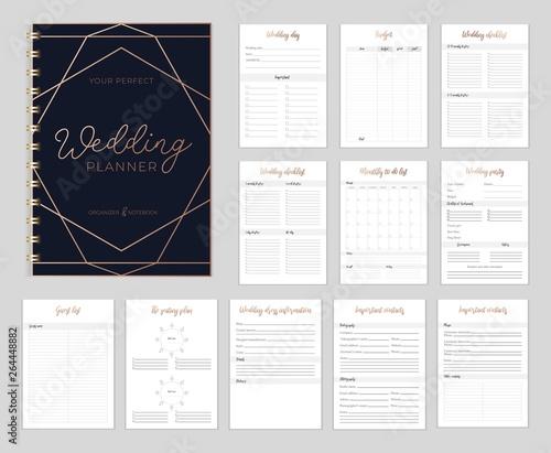 Obraz Chic Wedding planer organizer with checklist, wish list, party time etc. Floral diary design for wedding organisation. Vector wedding planer. - fototapety do salonu