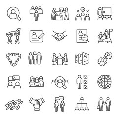 Human resource, icon set. Job hunting and employee search. Interview and recruitment, linear icons. team work, business people. Line with editable stroke.