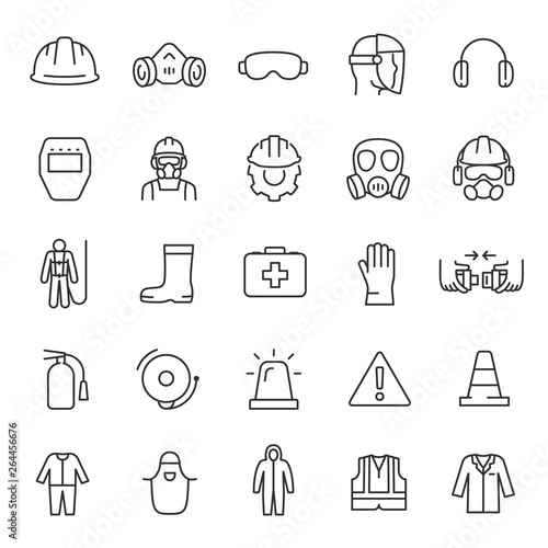 Obraz Protection and safety in the workplace, icon set. work area safety, linear icons. Notification and warning of danger. Line with editable stroke - fototapety do salonu