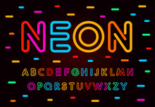 Neon Letters, Numbers And Symbols Set. Colored Tube, Colorul Contour Modern Style Abc, Lines Latin Alphabet. Fonts For Events, Promotions, Logos, Banner And Monogram. Vector Typography Design.