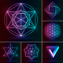 Sacred Geometry Set. Vector Esoteric Ornament On The Neon Background. Abstract Geometric Symbols: Fower Of Life, Merkaba, Penrose Triangle, Pentagram, Octagram. Mystery Logo For Magic Design.