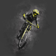 Fototapeta Sport Pencil drawing illustration of a cyclist on a downhill bike on gray background
