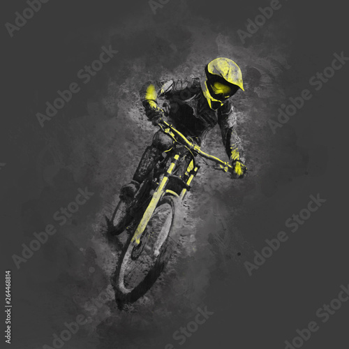 Fotografia Pencil drawing illustration of a cyclist on a downhill bike  on gray background