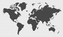 World Map On Transparent Background
