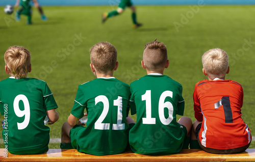 Children Sitting on Soccer Football Wooden Bench  Kids