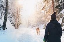 Man Follows Dog In Snow