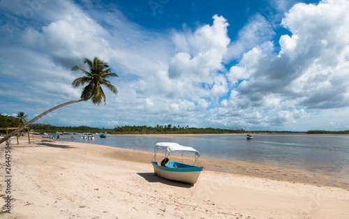 Fototapety, obrazy: Tropical island with coconut trees and boat in the sand