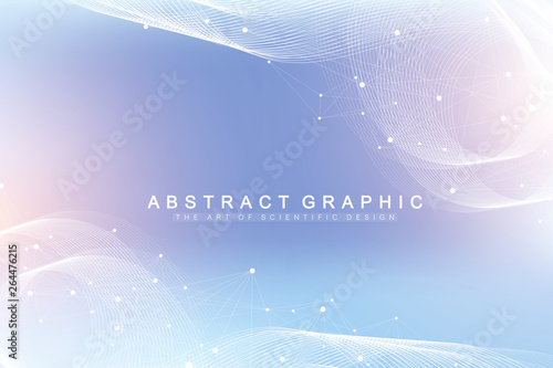 Fotografia  Geometric abstract background with connected line and dots
