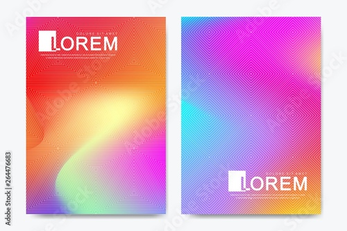 Fototapety, obrazy: Creative vector template for brochure, leaflet, flyer, cover, catalog, banner, card. Abstract fluid gradient shapes vector trendy liquid colors backgrounds set. Grid texture vector illustration.