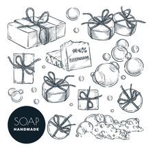 Hand Made Natural Soap Bar Set. Bath And Spa, Hand Drawn Design Elements. Vector Sketch Illustration