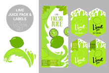 Cartoon Green Lime On Juice Splash. Lime Juice Pack And Organic Fruit Labels Tags. Colorful Tropical Stickers. Juicy Exotic Fruit Badges With Splashes. Citrus Fruit Vector Package Set For Web, Print.